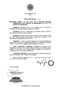 July 17, 2015 Regular Holiday - Feast of Ramadhan
